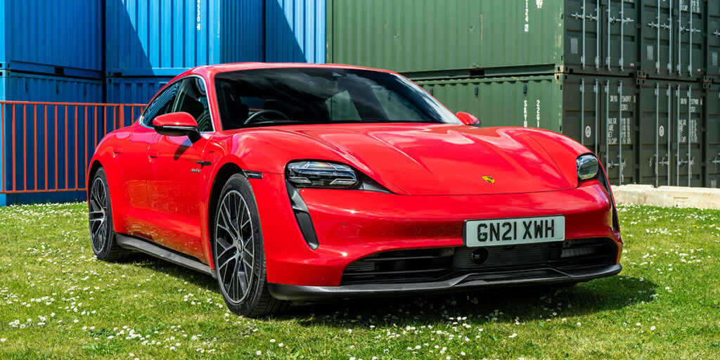 Red Porsche Taycan for Hire